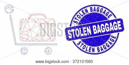 Web Carcass Baggage Cart Icon And Stolen Baggage Watermark. Blue Vector Rounded Distress Watermark W