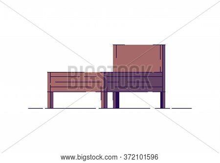 Double Wooden Bed Semi Flat Rgb Color Vector Illustration. Poor Rural Bedroom Item. Wood Rustic Bed