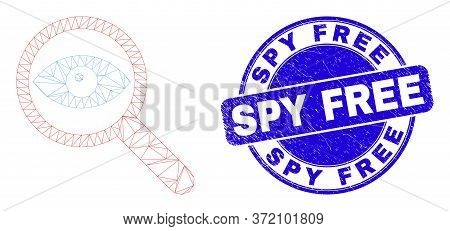 Web Carcass Investigate Pictogram And Spy Free Stamp. Blue Vector Round Textured Seal Stamp With Spy
