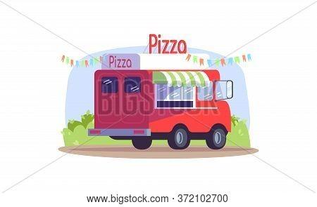 Pizza Truck Semi Flat Vector Illustration. Van To Sell Snack On Seasonal Urban Market. Mobile Bistro