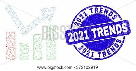 Web Mesh Trend Chart Icon And 2021 Trends Seal Stamp. Blue Vector Rounded Textured Seal Stamp With 2