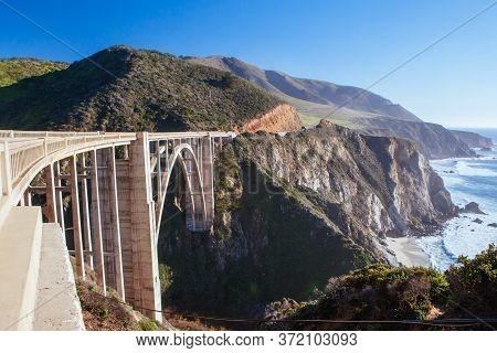 Bixby Bridge And Coastline At Big Sur Usa