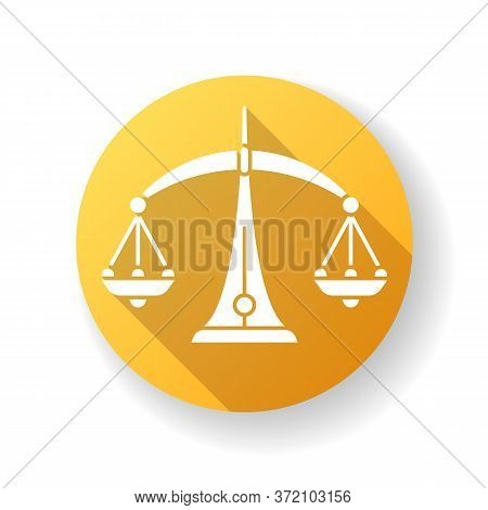 Libra Zodiac Sign Yellow Flat Design Long Shadow Glyph Icon. Judicial System, Equilibrium, Horoscope
