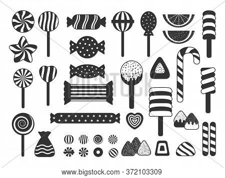 Set Of Sweet Candies Icons Silhouette. Jelly, Candy Cane Assortment, Lollipop, Dragee, Heart Candy,