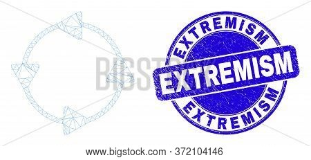 Web Mesh Ccw Circulation Arrows Pictogram And Extremism Seal Stamp. Blue Vector Rounded Distress Sea