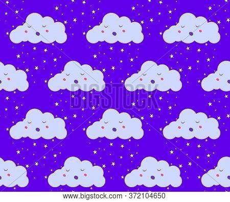 Emoji Clouds On Dark Sky With Star Rain Or Snow Seamless Pattern. Baby Kids Limitless Background Wit