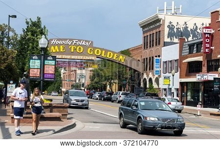 Golden, Colorado, United States Of America - September 06, 2019:golden Colorado Main Street With An