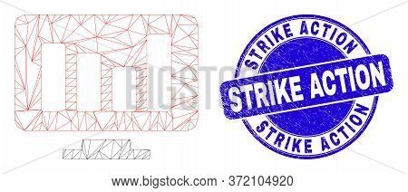 Web Mesh Online Chart Pictogram And Strike Action Watermark. Blue Vector Round Grunge Watermark With