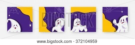 Set Of Ghost Cute Character Template Square Frame. Decorative Pattern With Space Text Box. Different