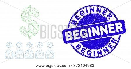 Web Carcass Bank Clients Pictogram And Beginner Seal Stamp. Blue Vector Rounded Textured Seal Stamp