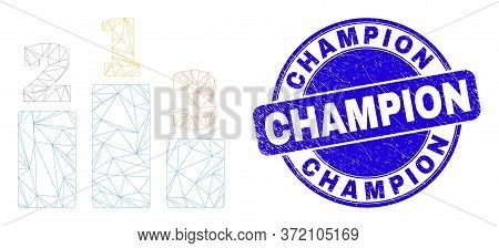 Web Mesh Prize Places Icon And Champion Seal Stamp. Blue Vector Round Distress Seal Stamp With Champ