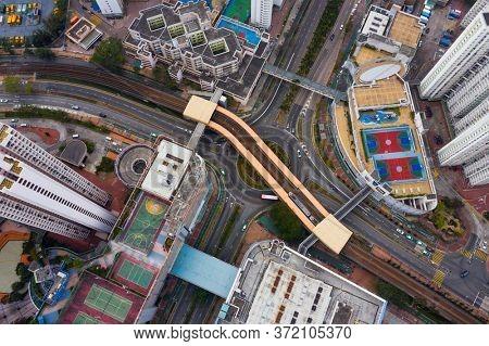 Tin Shu Wai, Hong Kong 03 February 2020: Top view of Hong Kong city