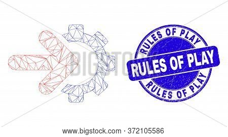 Web Mesh Integration Gear Icon And Rules Of Play Stamp. Blue Vector Rounded Scratched Seal Stamp Wit
