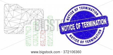 Web Carcass Charts Folder Pictogram And Notice Of Termination Stamp. Blue Vector Round Scratched Sea