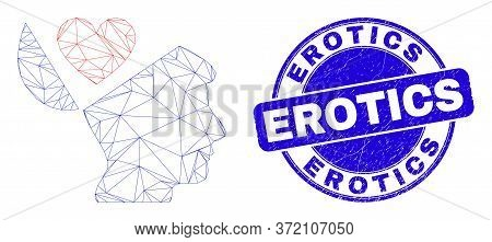 Web Mesh Favourites Open Mind Icon And Erotics Seal Stamp. Blue Vector Rounded Distress Seal Stamp W