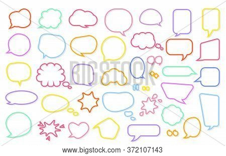 Colored Line Frame Comic Retro Speech Soap Bubble Set. Empty Text Box Different Shapes Balloons, Clo
