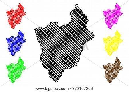 Mongar District (districts Of Bhutan, Kingdom Of Bhutan) Map Vector Illustration, Scribble Sketch Mo