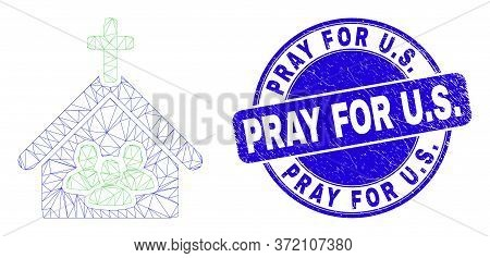 Web Carcass Church People Icon And Pray For U.s. Seal Stamp. Blue Vector Rounded Textured Watermark