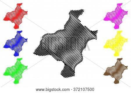 Pemagatshel District (districts Of Bhutan, Kingdom Of Bhutan) Map Vector Illustration, Scribble Sket