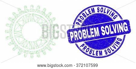 Web Mesh Gear Icon And Problem Solving Seal Stamp. Blue Vector Round Scratched Seal Stamp With Probl