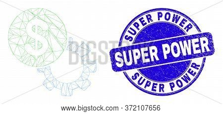 Web Mesh Dollar Setup Gear Icon And Super Power Seal Stamp. Blue Vector Round Textured Seal Stamp Wi