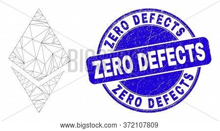 Web Carcass Crystal Pictogram And Zero Defects Seal Stamp. Blue Vector Rounded Textured Seal With Ze