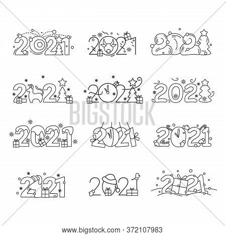 2021 New Year, Christmas And Chinese Lunar Calendar Linear Calligraphic Illustrations Set. Editable