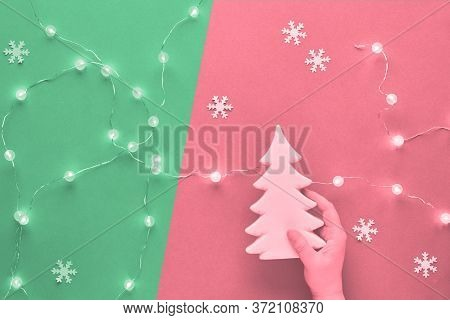Winter Holiday Festive Composition, Monochrome Image Toned In Two Tones, Pink And Neo Mint Green. Ha