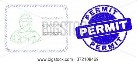 Web Mesh User Card Icon And Permit Stamp. Blue Vector Round Distress Stamp With Permit Title. Abstra
