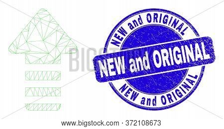 Web Carcass Update Arrow Icon And New And Original Seal Stamp. Blue Vector Rounded Grunge Stamp With