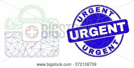 Web Mesh Medical Handbag Icon And Urgent Seal. Blue Vector Round Distress Seal Stamp With Urgent Tit