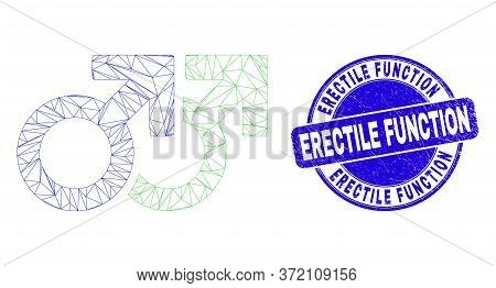 Web Carcass Gay Pair Symbol Icon And Erectile Function Stamp. Blue Vector Round Textured Seal Stamp