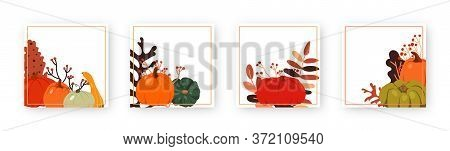 Set Of Autumn Pumpkin Template Square Frame. Decorative Pattern With Space Text Box. Different Backg