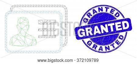 Web Mesh User Cards Pictogram And Granted Seal Stamp. Blue Vector Round Distress Seal Stamp With Gra