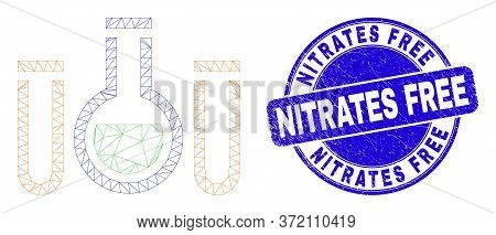 Web Carcass Chemical Tubes Icon And Nitrates Free Seal. Blue Vector Round Textured Seal With Nitrate