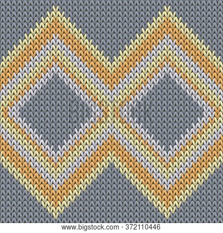 Soft Rhombus Argyle Christmas Knit Geometric Seamless Pattern. Carpet Knit Tricot  Fabric Print. Nor