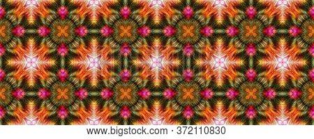 Majestic Floral Tile. Santorini Pattern Original. Mottled Floral Border. Bright Seamless  Mexican Mo