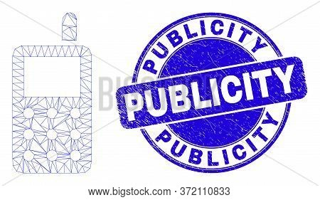 Web Carcass Radio Transmitter Icon And Publicity Seal. Blue Vector Rounded Scratched Seal Stamp With