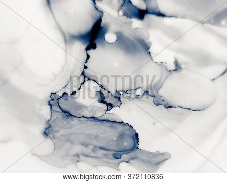 Water Alcohol Ink Design. Ink Paint Texture. Dim Colors Marble Style Texture. Indigo Blue Grunge Wal
