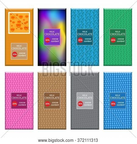 Set Of Different Milk Chocolate Bar Isolated On White Background. Sweet Food Collection. Package Moc