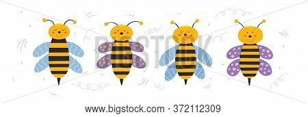 Set Of Cartoon Flying Bees. Little Cute Wasp Vector Illustration. Funny Insects On An Isolated Backg