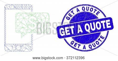 Web Carcass Smartphone Bank Message Icon And Get A Quote Seal Stamp. Blue Vector Rounded Scratched S