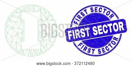 Web Carcass First Pictogram And First Sector Seal Stamp. Blue Vector Rounded Grunge Seal Stamp With