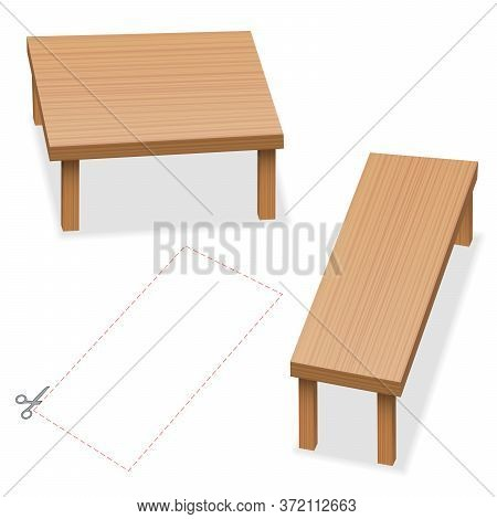 Optical Illusion, Two Tables With Same Size Of Tabletop. Cut Out The Red Rectangle, Compare, Check A