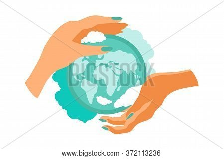 Planet Earth In The Hands Of Man. Environmental Conservation, Ecology. Vector Illustration.