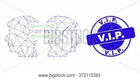 Web Mesh Head Links Integration Icon And V.i.p. Seal. Blue Vector Round Grunge Seal With V.i.p. Text
