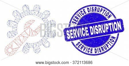 Web Carcass Repair Tools Pictogram And Service Disruption Seal Stamp. Blue Vector Rounded Textured S