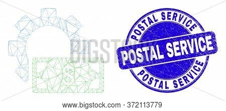Web Mesh Financial Settings Gear Pictogram And Postal Service Seal. Blue Vector Round Grunge Seal Wi