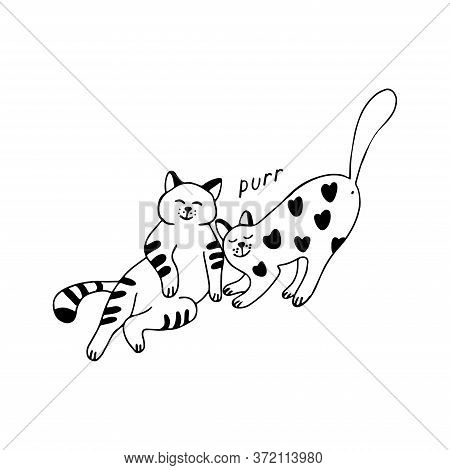 Two Adorable Cats In Doodle Style. They Are Affectionate And Satisfied, Striped And Decorated With H