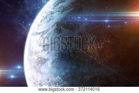 Abstract Scientific Backgrouabstract Scientific Background - Glowing Planet In Space, Nebula And Sta